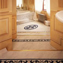 GW13 Gregorian Marble with B15 Scroll Border and MC5 Oval Motif