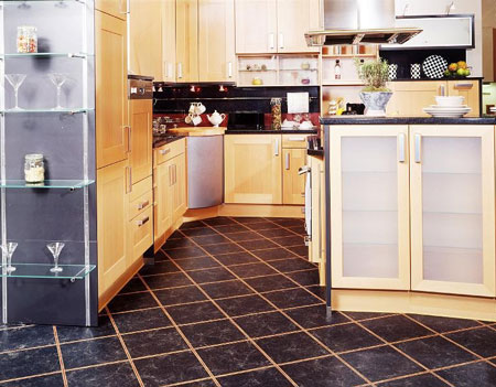 Kitchen Tile Flooring Ideas on Kitchen Flooring Idea   Nm2ct Florentine Black  W793e Warm Beech And